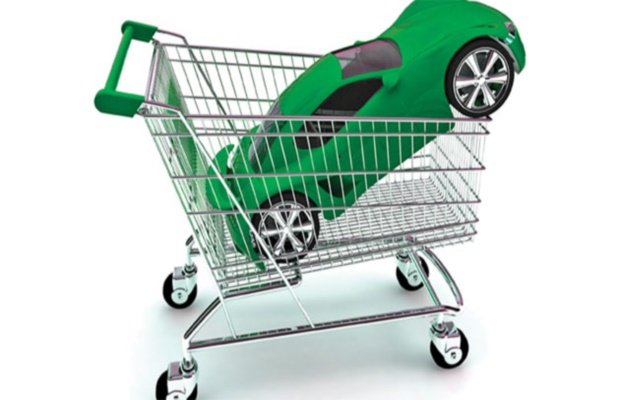 A red sports car in a shopping trolley. 3D rendering with HDRI lighting and raytraced textures.